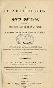A plea for religion and the sacred writings by Simpson, David