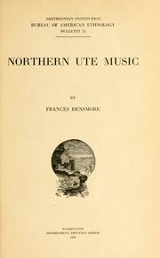 Northern Ute music by Frances Densmore