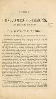 Speech of Hon. James F. Simmons, of Rhode Island, on the state of the Union by James Fowler Simmons