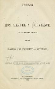Speech of Hon. Samuel A. Purviance, of Pennsylvania by Samuel A. Purviance