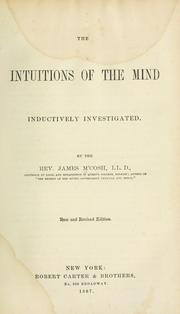 The intuitions of the mind inductively investigated by McCosh, James