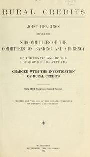 Rural credits by United States. Congress. Senate. Committee on Banking and Currency