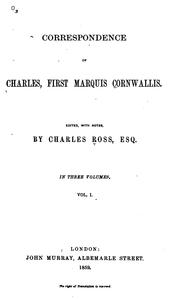 Correspondence of Charles, first Marquis Cornwallis by Cornwallis, Charles Cornwallis Marquis