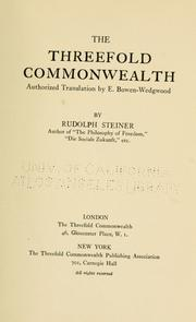 Cover of: The threefold commonwealth by Rudolf Steiner