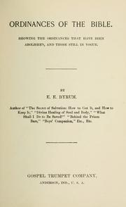 Ordinances of the Bible by E. E. Byrum