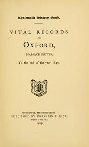 Vital records of Oxford, Massachusetts PDF