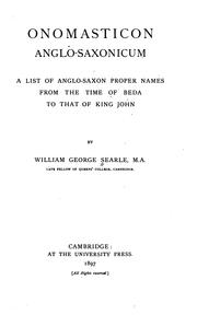 Onomasticon anglo-saxonicum by Searle, William George