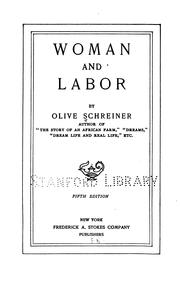 Woman and labor by Olive Schreiner