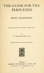 Cover of: The guide for the perplexed by Moses Maimonides