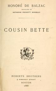Cover of: Cousin Bette by Honor de Balzac