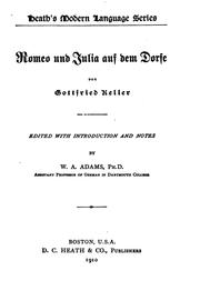 Cover of: Romeo und Julia auf dem Dorfe by Gottfried Keller