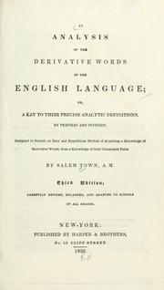 An analysis of the derivative words in the English language by Salem Town