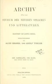 Archiv für das Studium der neueren Sprachen und Literaturen.