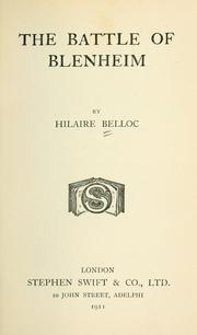 The battle of Blenheim by Hilaire Belloc