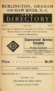Cover of: Burlington, Graham and Haw River, N.C. city directory by compiled by Ernest H. Miller.