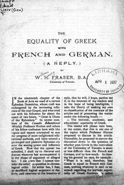 The equality of Greek with French and German (a reply) by W. H. Fraser
