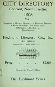 Cover of: Concord, North Carolina city directory by compiled by Ernest H. Miller.