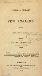 A general history of New England by Hubbard, William