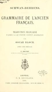 Grammaire de l&#39;ancien franais by Schwan, Eduard
