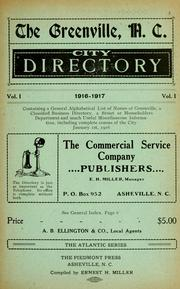 Cover of: The Greenville, N.C. city directory by compiled by Ernest H. Miller.