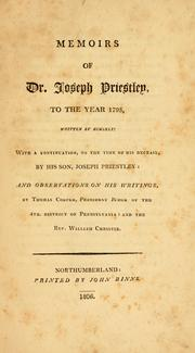 Memoirs of Dr. Joseph Priestley by Priestley, Joseph