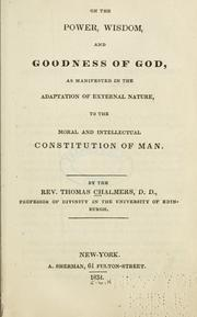 On the power, wisdom and goodness of God by Chalmers, Thomas