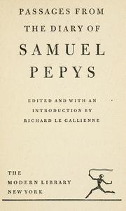 Passages from the diary of Samuel Pepys by Samuel Pepys