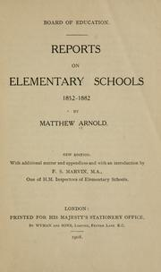Reports on elementary schools 1852-1882 by Matthew Arnold