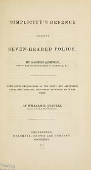 Simplicity's defence against seven-headed policy by Samuel Gorton