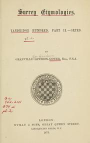 Surrey etymologies: Tandridge Hundred, pt. 2, Oxted PDF