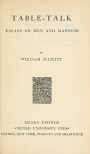 Cover of: Table talk by Hazlitt, William