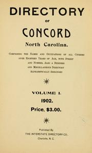 Cover of: Directory of Concord, North Carolina by