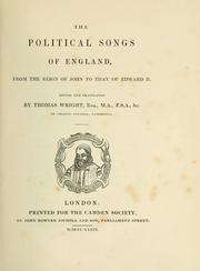 The political songs of England by Wright, Thomas