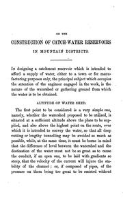 On the construction of catch-water reservoirs in mountain districts PDF