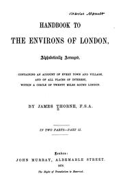 Cover of: Handbook to the environs of London by James Thorne