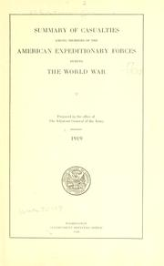 Summary of casualties among members of the American expeditionary forces during the world war PDF