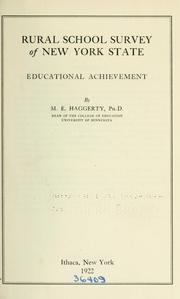 Rural school survey of New York State by Melvin E. Haggerty