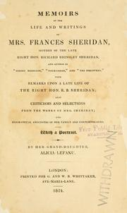 Cover of: Memoirs of the life and writings of Mrs. Frances Sheridan by Alicia Lefanu