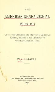 Cover of: American genealogical record by