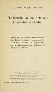 The distribution and relations of educational abilities by Burt, Cyril Lodowic Sir
