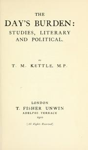 The day's burden by Tom Kettle