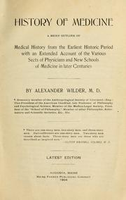 History of medicine by Alexander Wilder