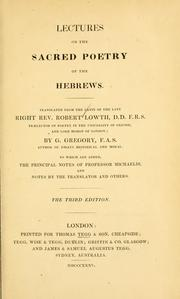 De sacra poesi Hebraeorum by Lowth, Robert