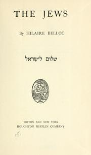 The Jews by Hilaire Belloc