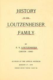 Cover of: History of the Loutzenheiser family by