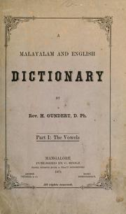 A Malayalam and English dictionary by Hermann Gundert