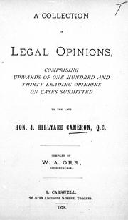 A collection of legal opinions by J. Hillyard Cameron