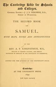 The second book of Samuel by A. F. Kirkpatrick