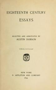 Eighteenth century essays by Dobson, Austin
