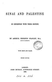 Sinai and Palestine in connection with their history by Stanley, Arthur Penrhyn